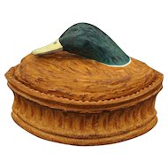 French Pillivuyt Game Terrine / Tureen Mallard Duck Head Size 4 Glazed Porcelain - 20th Century, France