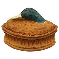 French Pillivuyt Game Terrine / Tureen Mallard Duck Head Size 4 Glazed Porcelain - 20th Century, France