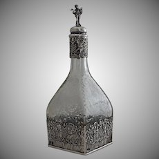 Hanau Silver Mounted Etched Glass Decanter / Bottle Storck & Sinsheimer Overlay - 1874 to 1926, Prussia