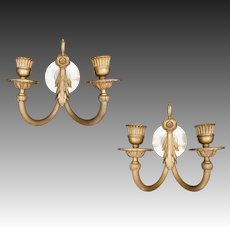 Pair French Empire Style 2 Light Bronze Sconces / Appliques Wall Fixtures