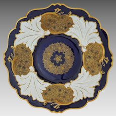 Cobalt Gilt Rococo Style Jutta Cobalt by Weimar Porcelain Charger / Platter / Large Cabinet / Wall Plate - circa 1948-49, Germany