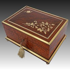 Birds Eye Maple Jewelry Casket Dresser Box Bronze Inlay Silk Fitted Interior Removable Tray - 19th Century, France