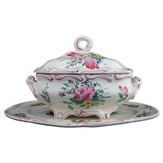 Luneville Old Strasbourg Faience Large Soup Tureen and Underplate Platter Tulips - France