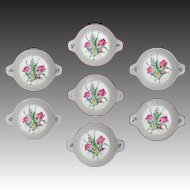 Luneville Old Strasbourg Faience Set 7 Double Handled Porringers Tulips - France