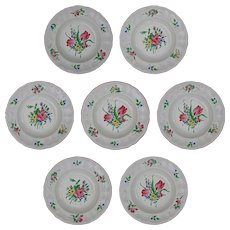 Set 7 French Luneville Old Strasbourg Faience Large Bowls Plates Roses and Tulips - France