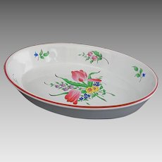 Luneville Old Strasbourg Faience Large Oval Baking / Serving Bowl Tulips - France