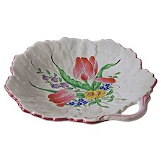 Luneville Old Strasbourg Faience Leaf Shaped Dish Bowl Tulips - France