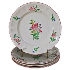 "Set 4 Luneville Old Strasbourg Tulips Faience 8"" Plates Fruit Salad Lunch - France"