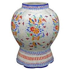 Boch Freres La Louviere Belgian Pottery Vase Floral - 20th Century, Belgium