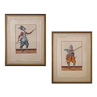 Pair Arms and Armour signed De Gheyn Copper Engravings Dutch Soldiers, The Exercise of Arms, Plates 16 and 23 - The Netherlands