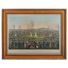 World Championship Boxing Match Lithograph Heenan Sayers after W. L. Walton 1860 by George Newbold