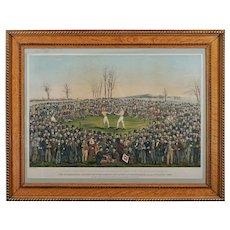 World Championship Boxing Match Lithograph Heenan Sayers after W. L. Walton 1860 by George Newbold