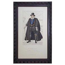 Tudor Nobleman Costume Sir Thomas Cecil Stipple Engraving Portrait Framed - 19th Century