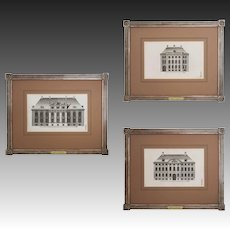 Set 3 Danish Architectural Engravings Commune Kobnhavn - Denmark