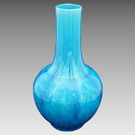 Chinese Monochrome Bright Turquoise Glazed Porcelain Bottle Vase Leaf Neck