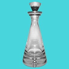 English Sterling Neck Modern Pyramid Shape Crystal Decanter and Stopper Hallmarked