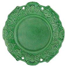 Green Majolica Plate Dot Pattern Scrolls Eagles Cornucopia Floral Border
