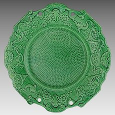Green Majolica Plate Dot Pattern Scrolls Eagles Cornucopia Floral Border