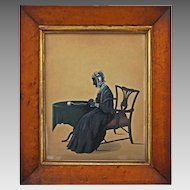 Folk Art Painted Silhouette Profile Portrait Full Length Interior Setting Seated Lady Birds Eye Maple Frame Large - circa 1840's