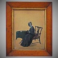 Folk Art Painted Silhouette Profile Portrait Full Length Interior Setting Seated Lady Birds Eye Maple Frame Large - circa 1840's