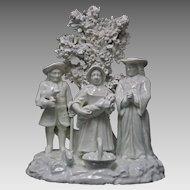 The Tithe Pig Porcelain Group Figure White Bocage