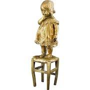 Signed Goldscheider Bronze Sculpture Child Standing on Stool Foundry Mark Juan Clara Numbered Figure - c. 1920's, France