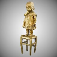 Signed Goldscheider Bronze Sculpture Child Standing on Stool Foundry Mark Juan Clara Numbered Figure - c. 1920's, France
