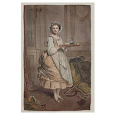 """Engraving Pretty French Maid Lisette by Masson after Chaplin """"After the Ball"""" - c. 19th Century, France"""