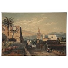 Orientalist Landscape Village French Foreign Legion Souaves Spain Color Lithograph Antique Palms Print