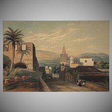 Orientalist Landscape Village French Foreign Legion Souaves Spain Color Lithograph Antique Palms Print