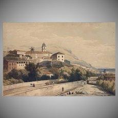 Orientalist Landscape Village River Washer Women Spain Color Lithographs Antique Palms Print