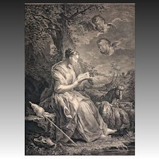 18th C. St. Genevieve Engraving by Batechou after Vanloo - circa 1758, France