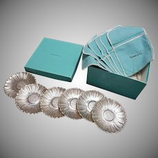 Set 6 Tiffany Sterling Silver Daisy Pattern Dishes - 20th Century, USA