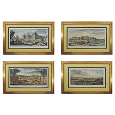 Set of 4 Royal Houses of France / French Chateau Engravings after Jacques Rigaud Framed - circa 19th Century, France