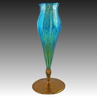 "11.25"" Tiffany Iridescent Floriform Art Glass Vase Bronze Mount Blue Large Ribbed Favrile American Tall Large - circa 1900's,  New York, USA"