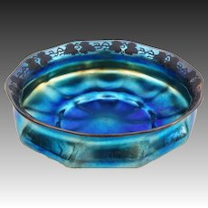 Tiffany Iridescent Center Bowl 10.5 inch Art Glass Blue Ribbed Favrile American Large - circa 1900's, New York, US