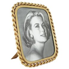 English Twisted Rope Brass Picture Frame Easel Back - circa 1900, England