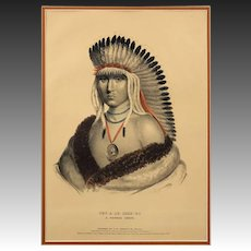 Native American Color Lithograph History of the Indian Tribes of  North America Pawnee Chief Large - 19th Century, USA
