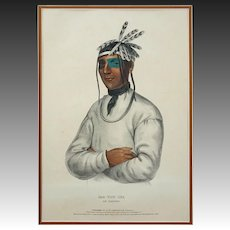 Native American Color Lithograph History of the Indian Tribes of North America Caa-Tou-See An Ojibway Large Americana - 19th Century, USA