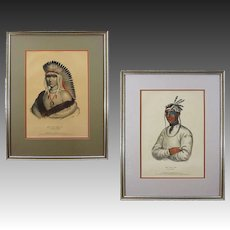 Pair of Native American Color Lithographs History of the Indian Tribes of North America , Americana - 19th Century, USA