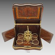 Napoleon III French Tantalus Cave a Liqueur Set Burled Ebonized Woods Gilt Bronze - 19th Century, France