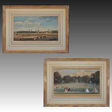 Pair 18th Century Oxford and Bowling Green English Engravings Chatelain, Boydell, Tinney