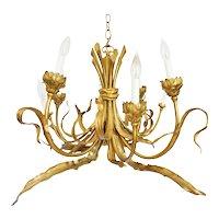 French Art Nouveau Style Figural Bronze Ceiling Lamp Chandelier 8 Lights - 20th Century, France