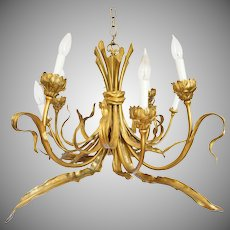 French Art Nouveau Style Figural Bronze Chandelier 8 Lights - 20th Century, France