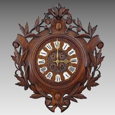 Antique French Black Forest Clock Carved Oak Enamel Numerals - c. 19th Century, France