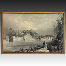 Schuylkill Water Works (Philadelphia) antique engraving after William Bartlett - 19th Century, USA