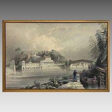 Schuylkill Water Works (Philadelphia) antique engraving after William Bartlett - 19th Century, USA