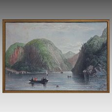 Roger's Slide, Lake George antique engraving after William Bartlett - 19th Century, USA