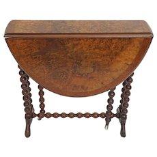 Burl Walnut Top Small Gateleg Drop Leaf Table Barley Twist Legs Wheels Casters - c. late 19th Century, England