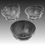 Set Six Baccarat Crystal Clear Bowls 5 Inch Dia. - 20th Century, France